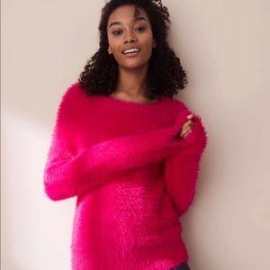 NWT Lou & Grey Hot Pink Fuzzy  Eyelash Sweater XS
